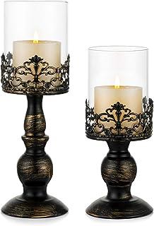 Sziqiqi Vintage Distressed Black Hurricane Candle Holders Set of 2, Versatile Metallic Pedestal Glass Floral Centerpiece B...