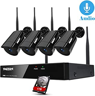 TMEZON Sistema de cámara de Seguridad inalámbrica 8CH con Audio cámara Tipo Bala 4 * 960P Kit de cámara CCTV IP WiFi NVR Disco Duro de 1TB