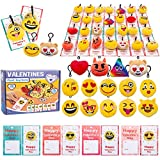 28Pcs Valentines Day Kids Gift Cards with Emotion Plush Keychains for Valentine's Classroom School Exchange Easter Hunt Emoji Party Favor Sets Backpack Clips Game