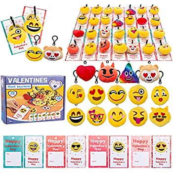 28Pcs Valentines Day Kids Gift Cards with Emotion Plush Keychains for Valentine s Classroom School Exchange Easter Hunt Emoji Party Favor Sets Backpack Clips Game