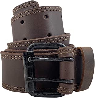 Hide & Drink, Two Row Stitch Leather Belt/Rustic Charcoal Double Prong Buckle, (1.5 in.) Wide Handmade