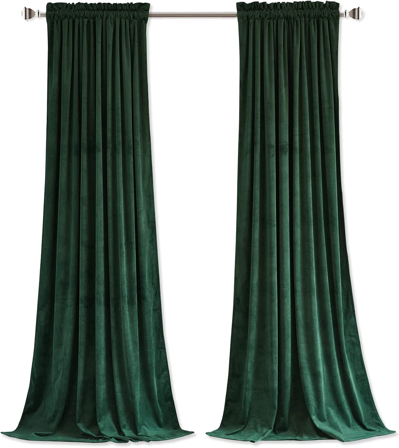 StangH Dark Green Velvet Curtains Window - Luxury A surprise price is realized Rare Panel Blackout