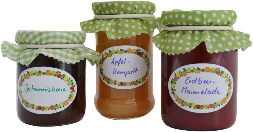 EAST-WEST Trading GmbH - Juego de 100 etiquetas para tarros En caja dispensadora, autoadhesivas para mermeladas y otros tarros.