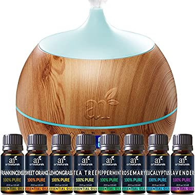 ArtNaturals Essential Oil and Bluetooth Diffuser Set - (400ml Tank & Top 8 Oil Set) - Peppermint, Tee Tree, Lavender, Eucalyptus - Auto Shut-off and 7 Color LED Lights – Therapeutic Grade