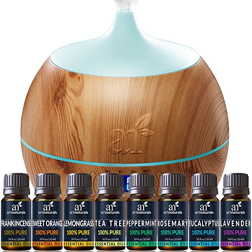 Artnaturals Essential Oil and Bluetooth Diffuser Set - (400ml Tank & Top 8 Oil Set) - Peppermint, Tee Tree, Lavender, Eucalyptus - Auto Shut-Off – Therapeutic Grade