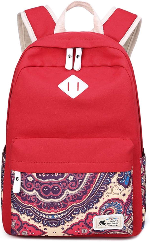 Backpack Female Korean Print Canvas Female Backpack Men And Women College Wind Middle School Students Shoulder Bag