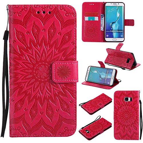 pinlu® Flip Funda de Cuero para Samsung Galaxy S6 Edge Plus Carcasa con Función de Stent y Ranuras con Patrón de Girasol Cover (Rojo)