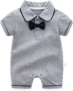 iEFiEL Neonato Unisex Bimbo Bambino Pagliaccetto Body Romper Pigiama Tutina Outfits Camicie a Maniche Lunghe Abito da Battesimo con Bottone Abiti da Gentiluomo 3-24 Mesi