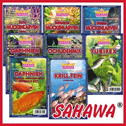 SAHAWA® Frostfutterpaket , 2 kg, 20 Blister á 100g + 2 Blister Daphnien gratis, verpackt mit Trockeneis -78°C, Zierfischfutter, Barsche, Discus, Guppys, Goldfische, Aquarium, Aquaristik, Fischfutter, Frostfutter