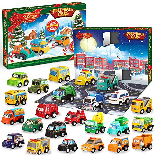 JOYIN 2020 Advent Calendar Kids Christmas 24 Days Countdown Calendar Toys for Kids with Pull Back Car Toys