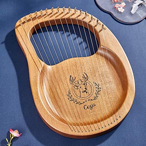 Lyre Harp Mahagoni, Tragbarer 16 Streicher Harfe Lyra Harfen mit Stimmschlüssel Kinder Erwachsene Anfänger Schatz Freunde Professionals und Bands,Wood