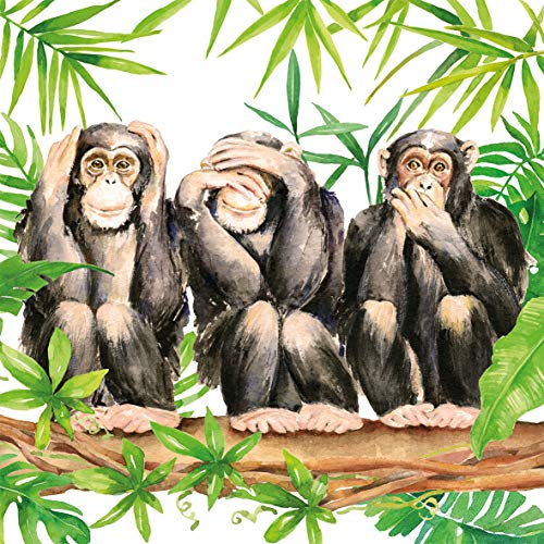 CasaJame Set di 40 (2 Confezioni da 20 Pezzi cad) Tovaglioli in Carta Monouso 3 Strati Veli 33x33cm Multicolore Motivo Scimmie Tropicali