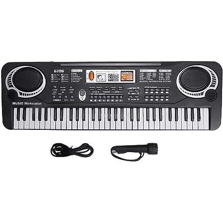 Teclado de piano de 61 teclas, teclado electrónico portátil, piano musical digital, teclado para niños, con micrófono, puerto USB, juguetes de regalo ...