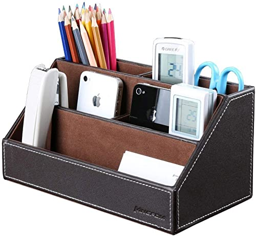 KINGFOM Home Office Wooden Struction Leather Multi-Function Desk Stationery Organizer Storage Box, Pen/Pencil,Cell Ph...