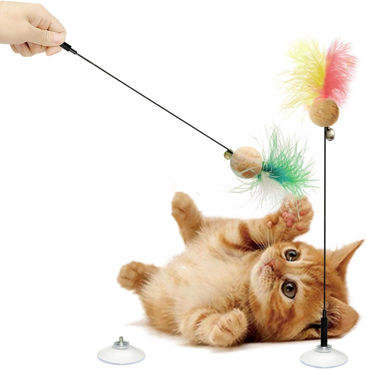 LEKLIT Cat Ranking TOP14 Cork Ball Feather Wand with Cups Over item handling Strong Suction Toys