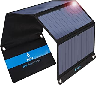 BigBlue 3 USB Ports 28W Solar Charger, 5V Foldable Waterproof Outdoor Solar Battery Charger with SunPower Solar Panel Comp...