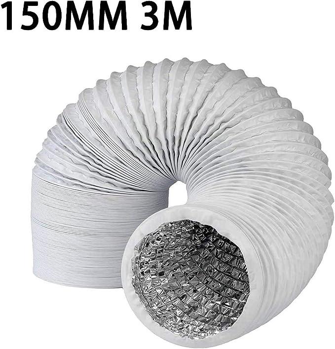 W/äschetrockner PVC Abluftschlauch 3 Meter 100mm flexibel geeignet f/ür Abzugshaube Klimaanlage