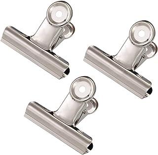 Pinces à charnière en métal grand, Coideal 20 Pack 2 pouces argent Bulldog trombone pince/argent fichier Binder clips pour...