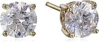 Platinum or Gold Plated Sterling Silver Round-Cut Stud Earrings made with Swarovski Zirconia