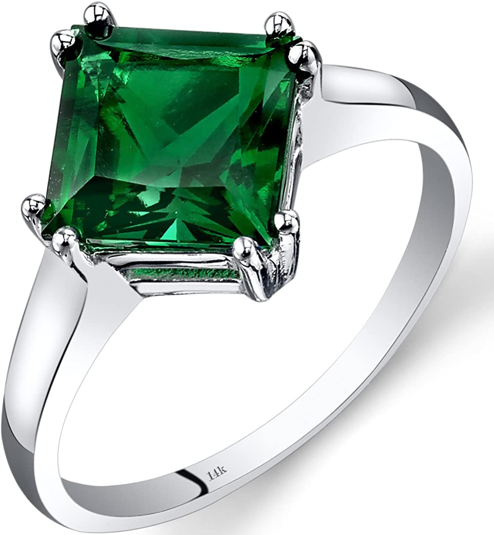 14K White Gold Created Emerald Princess High quality new Carats Year-end annual account Siz 2.00 Cut Ring