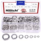 Hilitchi 410-Pcs [8-Size] 304 Stainless Steel Spring Lock Washer Assortment Set - Size Inc...