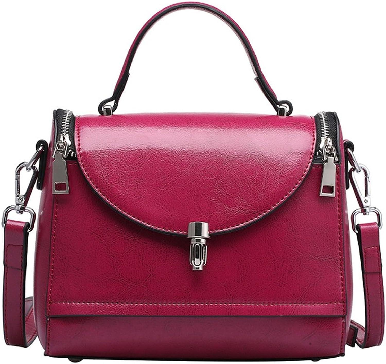 Sturdy Fashian Spring and Summer Models Leather Handbags Doctor Handbag Oil Wax Leather Shoulder Portable Messenger Handbag Ladies Double Zipper Large Capacity (color   Purple)