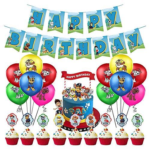 Decoración Cumpleaños Patrulla Canina Globos Patrulla Canina Pancarta Cumpleaños Patrulla Canina Balloons Paw Dog Patrol Adornos de Pastel Patrulla Canina