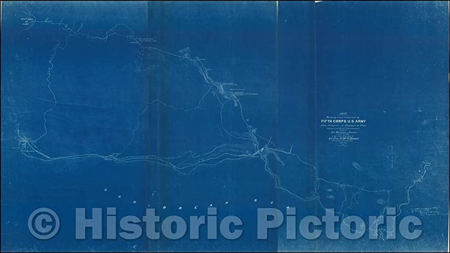 クラフト茎診断する歴史的な地図 | 道路を横切る地図、1898年 アメリカ陸軍 | ヴィンテージウォールアート 79in x 44in 5189647_7944_RMP