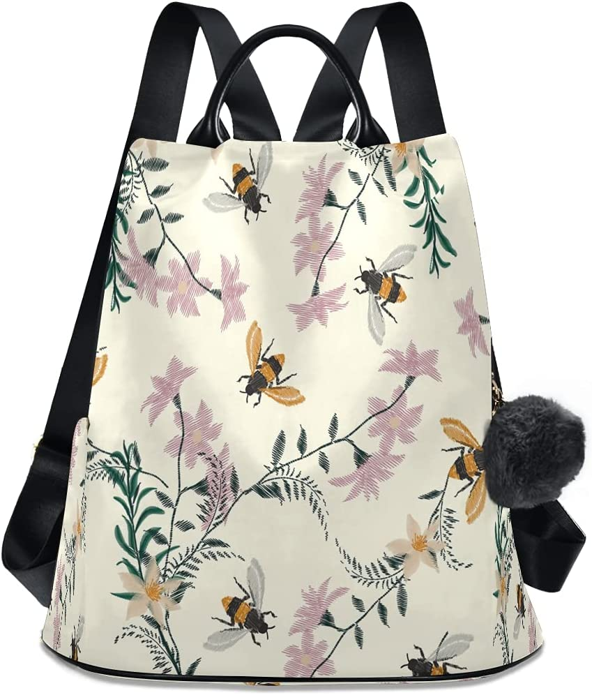 Max 86% OFF XMCL Woman Backpack Purse Vintage Bee Theft 67% OFF of fixed price Anti Flower Spring
