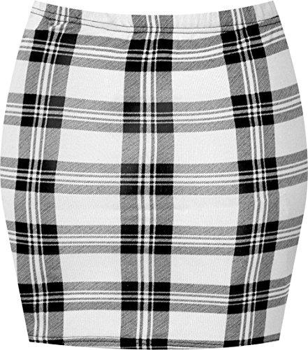 WearAll - Damen Bedruckt Dehnbar Jersey Figurbetontes Kurz Mini-Rock - Weiß Tartan - 40-42