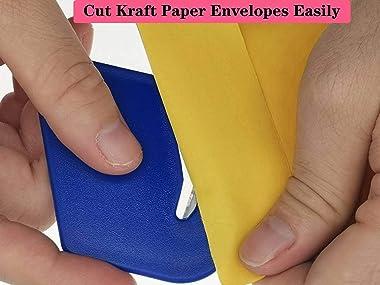 Letter Opener Envelope Slitter,Plastic Razor Blade Paper Knife,6 Pack (red/White/Dark Blue/Black/Purple/Sky Blue)