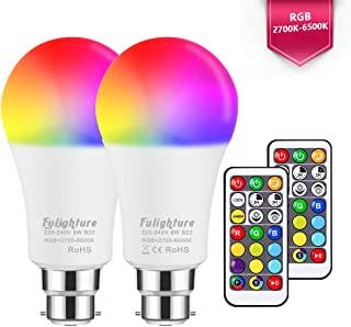 Fulighture LED A60 B22 Bayonet LED Colour Changing Light Bulbs with Remote Control, 55W Replacement, Bayonet Dimmable Colour Bulbs with Timing, Multicolored RGB Colours + Daylight +Warm White, 2Pack