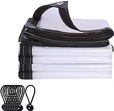 IDWOI schaduw- en regenbestendig zwembad tafel cover 100% helder dekzeil, 0.12 MM winddicht versterkte randen Poly Tarp vo...