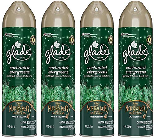 Glade Air Freshener Spray - Holiday Collection 2018 - Enchanted Evergreens - Net Wt. 8 OZ (227 g) Per Can - Pack of 4 Cans