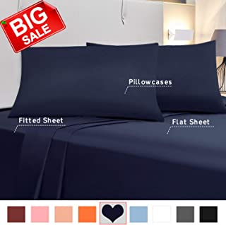 King Size Bed Sheets, Allo 4 Piece Hotel Luxury Microfiber Bedding Sheet set - 1 Flat Sheet, 1 Fitted Sheet, 2 Pillowcases Deep Pockets - Extra Soft, Wrinkle, Fade Resistant, Hypoallergenic, Navy Blue