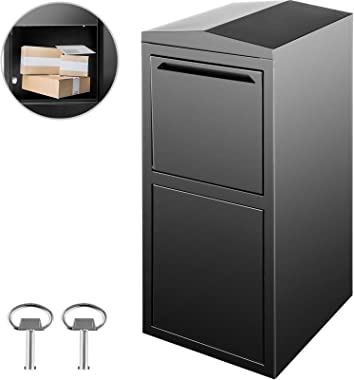 Happybuy Extra Large Mailbox 38.2x17.7x16.5 inch, Wall Mount Mailbox with 2 Keys, Security Locking Dropbox 1.2mm Galvanized Steel for Outside Home Office to Collect Package and Mail