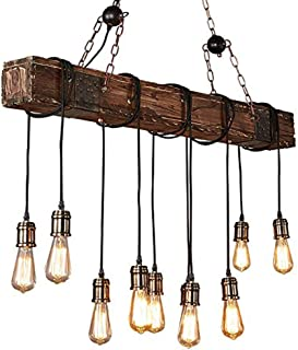 XHJJDJ Retro Edison Dining Room 10 Light Lámpara Colgante de Madera