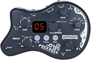 ammoon PockRock Guitar Pedal Portable Multi-effects Processor Effect Pedal 15 Effect Types 40 Drum Rhythms Tuning Function with Power Adapter-Dark Grey