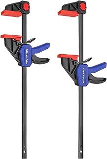 WORKPRO 2 Stuks Stalen Nylon Eenhandklemset voor Nauwkeurige Bevestiging, Klembreedte 305mm, Maximale Klemkracht 68kg, Rek...