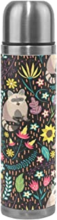 WangH Stainless Steel Raccoons Forest Nature Water Bottle Thermos- Insulated Vacuum Cup, Leather Cover 17 oz Travel Mug for Kids Adults