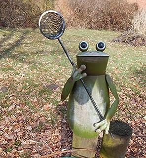 Zaunfigur Zaunhocker Frosch mit Angelrute Gartendekoration Eisen