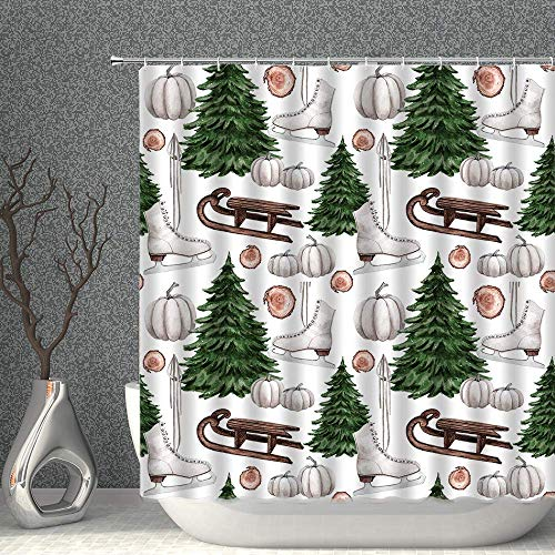 N \ A Merry Christmas Shower Curtain Watercolor Xmas Tree Winter Wooden Sleigh Ice Skates Green Brown Decor Fabric Polyester Bathroom Curtains with Hooks 60x72 Inch