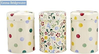 Emma Bridgewater Set of 3 Kitchen Storage Caddies Polka Dot Floral Design, Tea Coffee Sugar Tins