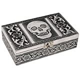 HAB & GUT -BOX011V- Caja joyero de Aluminio, Calavera, 20 x 12 x 6 cm