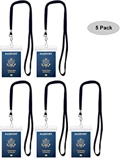 Cypes 5Pack Extra Large ID Badge Holder for Passport with Lanyards,4x6 Inch Fill for Passports,Cash, Credit Card,etc.By (5Pack Black Lanyards)