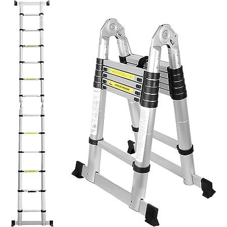 150 kg Belastbarkeit 4.4M Teleskopleiter Aluleiter Klappleiter Stehleiter Leiter Ausziehbar Rutschfester Mehrzweckleiter