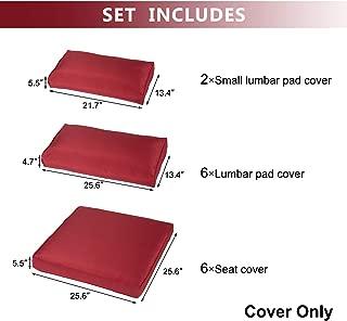 Kinbor Patio Wicker Furniture Sectional Sofa Seat Rattan Patio Seating Cushion Cover Set (Claret)