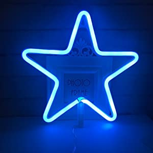 QiaoFei Blue Theme Home/Party Decor Light,Cute Neon Star Sign Shaped Decor Light,Marquee Signs/Wall Decor for Christmas,Birthday Party,Kids Room, Living Room, Wedding Party Decor(Blue)
