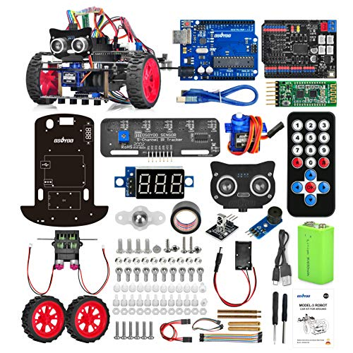 OSOYOO Model-3 V2.0 DIY Robot Car Kit for Arduino – Basic Board for UNO R3, Motor Shield, Line Tracking, Ultrasonic Sensor, Bluetooth, IR Remote Control – Battery and Charger Included