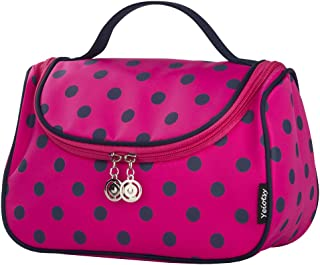 Cosmetic Bag for Girls, Yeiotsy Cute Toiletry Bag Polka Dots Travel Makeup and Toiletry Organizer (Rose Red)